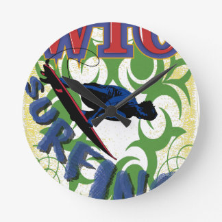 surfing tribal round clock