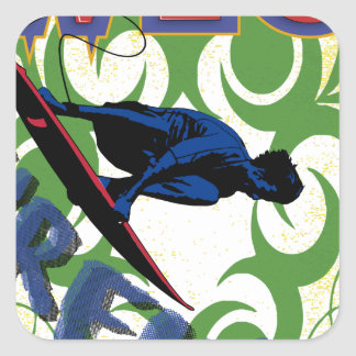 surfing tribal square sticker