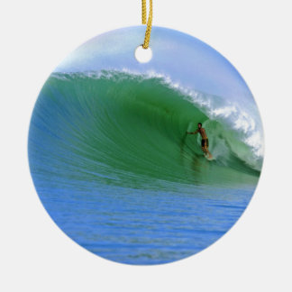 Surfing tropical island wave round ceramic ornament