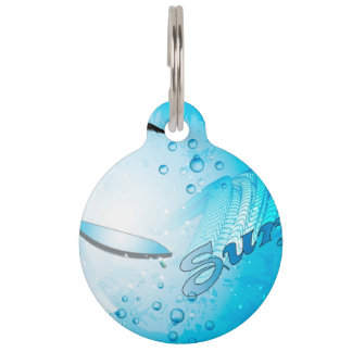 Surfing, Tropical, surfboard with wave Pet Tag