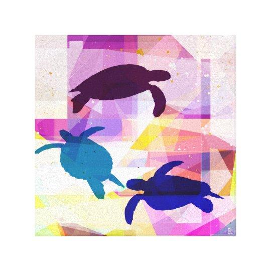 surfing turtles canvas print