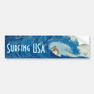 Surfing USA Bumper sticker surf art surfer sticker Car Bumper Sticker