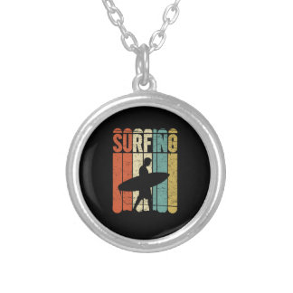 Surfing Vintage Silver Plated Necklace