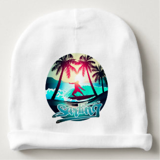 Surfing with palm trees baby beanie
