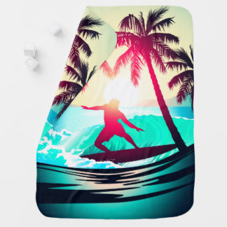 Surfing with palm trees baby blanket