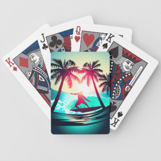 Surfing with palm trees bicycle playing cards