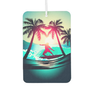 Surfing with palm trees car air freshener