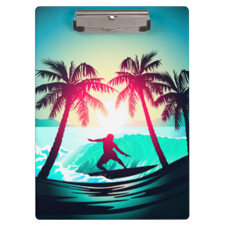 Surfing with palm trees clipboard