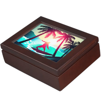 Surfing with palm trees keepsake box