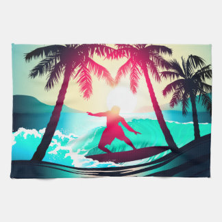 Surfing with palm trees kitchen towel