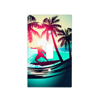 Surfing with palm trees light switch cover