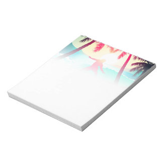 Surfing with palm trees notepad