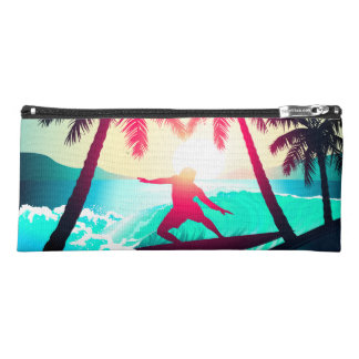 Surfing with palm trees pencil case