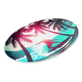 Surfing with palm trees porcelain serving platter
