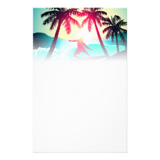 Surfing with palm trees stationery