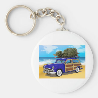 Surfing Woodie with Christmas Tree Keychain