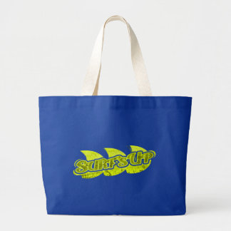 """Surf's Up"" bright green blue surfers tote bag"