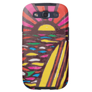 Surfs Up Folk Art Seascape Surfer Abstract Galaxy SIII Cover