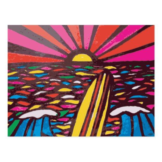Surfs Up Folk Art Seascape Surfer Abstract Postcard