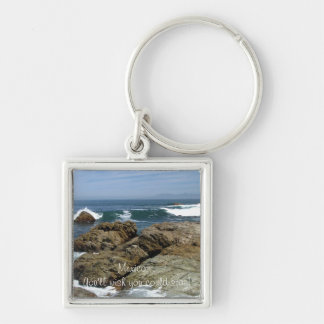 Surf's Up; Mexico Souvenir Silver-Colored Square Keychain