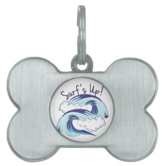 Surfs Up Pet Name Tag