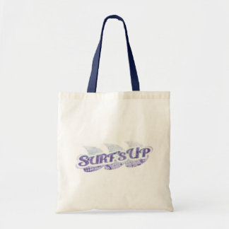 """Surf's Up"" purple and mint surfers tote bag"