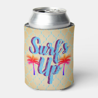 Surf's Up Summer Sunset Palm Tree Can Cooler