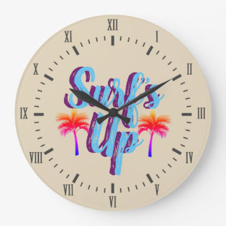 Surf's Up Summer Sunset Palm Trees Large Clock