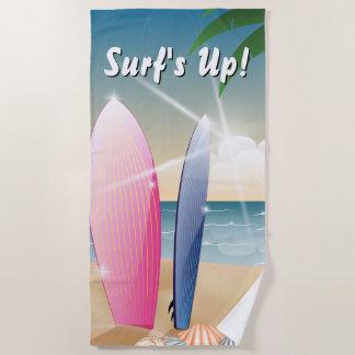 Surf's Up Surfboards on the Beach Beach Towel