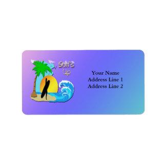 Surfs Up - Surfer Girl Address Label