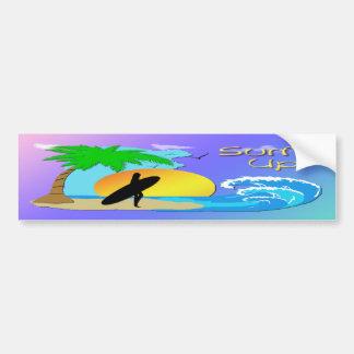 Surfs Up - Surfer Girl Bumper Sticker Car Bumper Sticker