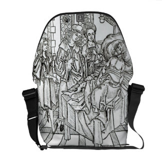 Surgeon and assistants visit a badly wounded man, messenger bag