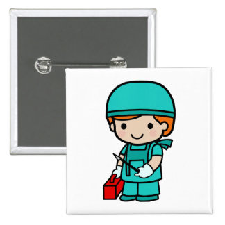 Surgeon Boy 2 Inch Square Button