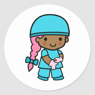 Surgeon Girl Round Sticker