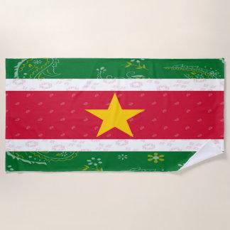 Suriname Flag Beach Towel