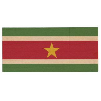 Suriname Flag Wood USB Flash Drive