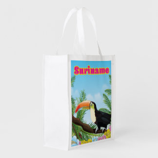 Suriname South american paradise travel poster Reusable Grocery Bag