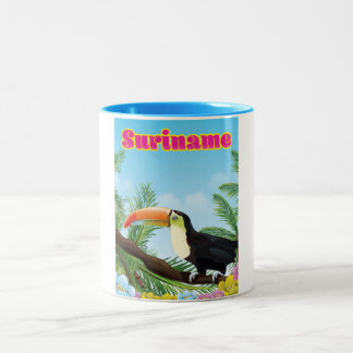 Suriname South american paradise travel poster Two-Tone Coffee Mug