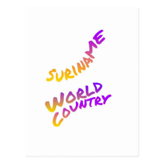 Suriname world country, colorful text art postcard