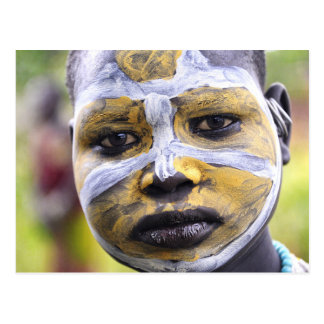 Surma girl with painted face postcard