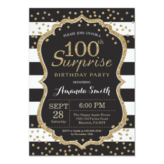 Surprise 100th Birthday Invitation. Gold Glitter Card