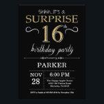 Surprise 16th Birthday Invitation Black And Goldbrdiv Classdesc