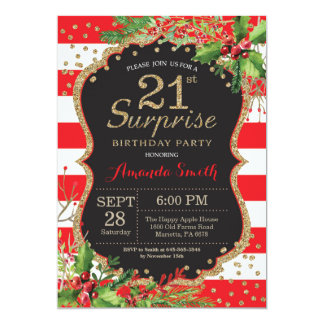 Surprise 21st Birthday Invitation Christmas Gold