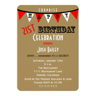 Surprise 21st Birthday Party Invitations Bunting