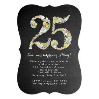 Surprise 25th Number 25 Birthday Party Invite