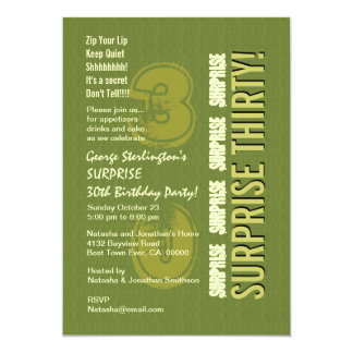 SURPRISE 30th Birthday Army and Olive Green V9 Card