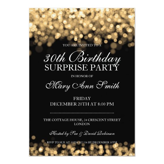 Surprise 30th Birthday Party Gold Lights Card
