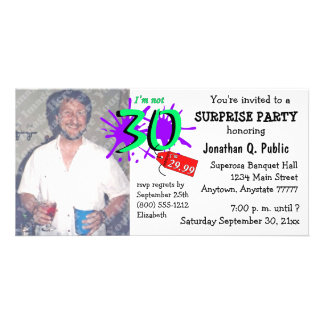 Surprise 30th Birthday Party Photo Invitation Picture Card