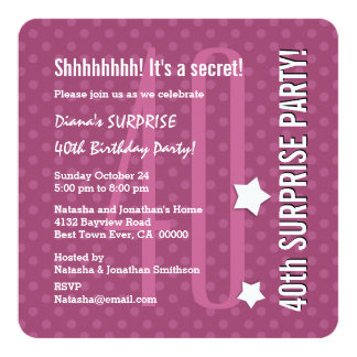 SURPRISE 40th Birthday DARK PINK Polka Dots V04D Card