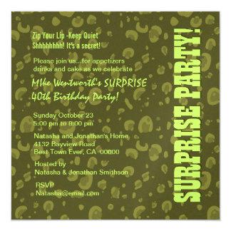 SURPRISE 40th Birthday Green Camo Confetti Card